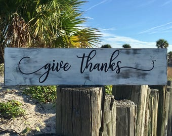 Distressed Wood Sign, Give Thanks Sign, Farmhouse Decor, Fall Sign, Thanksgiving Sign, Give Thanks Wood Sign, Rustic Farmhouse Fall Decor