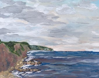 Oil landscape painting of Sidmouth Harbour; seascape, original, wall art