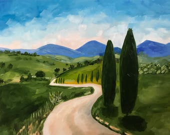 Oil landscape painting of Tuscan hills; green, blue, Tuscany, Italy, original, wall art