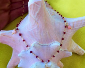 necklace with bakelite red drops and pink coral