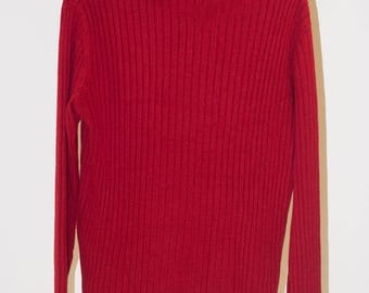 Red sweater with buttons