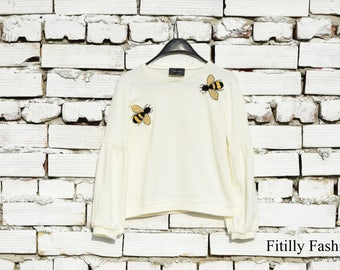 NEW Ivory Women's Sweater with balloon sleeves and bees appliques/ Woman blouse