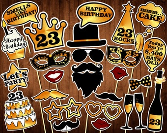 23rd Birthday Photo Booth Props - Printable PDF - Eighteen Birthday Props - Black and Gold - 23rd birthday party decorations