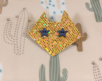 Sequined gold Cat Head pin