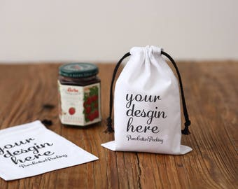 50 Custom white bag cotton drawstring pouch personalized LOGO printed gift packaging cosmetic bags jewelry package bag