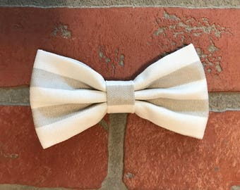 Gray and white bow tie