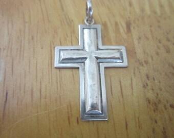 Native American 14 K White Gold Christian Cross with Jesus Silhouette Precious