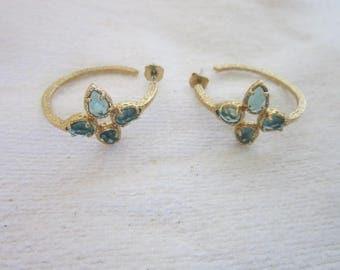 Gold Tone & Aquamarine Rhinestone Engraved Hoop Earrings