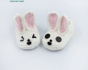 Bunny Baby Shoes, Crochet Baby Shoes, Handmade Baby Shoes for Summer