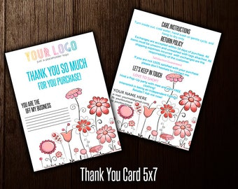 Thank You Card, 5x7, Care Card, Free Personalize, Home Office Approved (Fonts color), Consultant Digital Card, LLR Thank You Card- Care card
