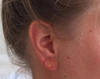 Button earrings orange   handmade stud earrings