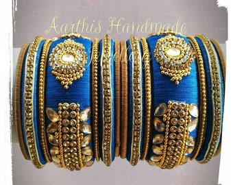 Blue Silk thread bangles with kundan work