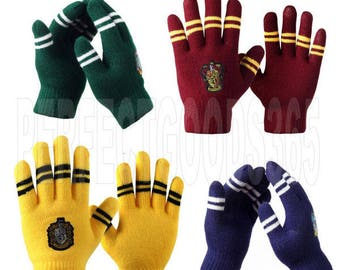 Harry Potter Gryffindor Slytherin Hufflepuff Ravenclaw Gloves Winter Cosplay