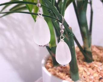 White frosted tear drop bead drop earrings