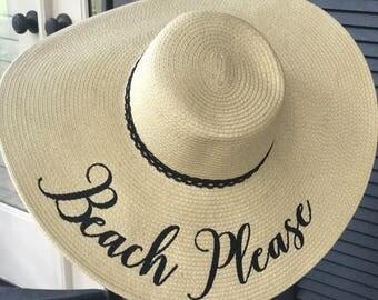 "EMBROIDERED ""BEACH PLEASE"" Custom Sun Hat, Honeymoon Beach Hat, Floppy Hat, Mrs. Beach Hat, Personalized Floppy Hat, Bride Gift, Girls Trip"