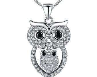 Vintage Owl Pendant Necklace with Austrian Zircon 18K White Gold Plated