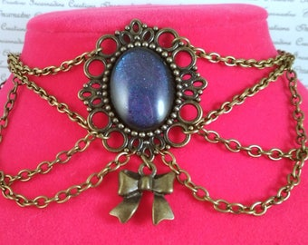 Handpainted multicolored stone and bronze chain choker necklace gothic victorian