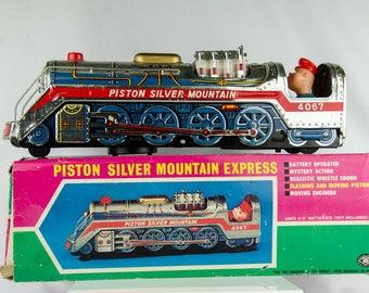 Rare Modern Toys Masudaya Japan Piston Silver Mountain Express Train Tin Litho