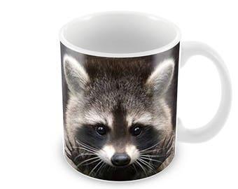Raccoon Ceramic Coffee Mug    Free Personalisation