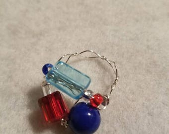 Red White and Blue Statement Ring