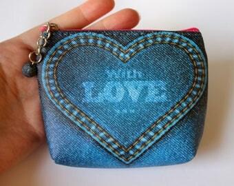 Cute Zip Purse, Zip Pouch, Coin Purse, Coin Pouch, Make-Up Purse, Cosmetic Purse, Cosmetic Pouch, Jeans Print Coin Purse, Denim Print Purse