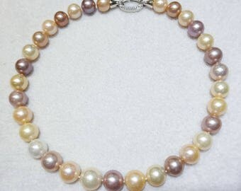 Mulyicolor approx 11.-15.5 mm pearl strand necklace,