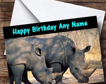 Rhinoceros Rhino Personalised Birthday Card