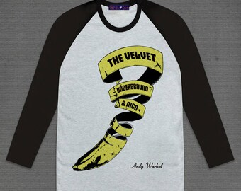 Andy Warhol The Velvet Underground & Nico 3/4 Long sleeve Grey Body and Black Raglan Sleeve Cotton Adult Unisex Size S M L XL