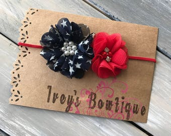 Red white and blue 4th of july headband