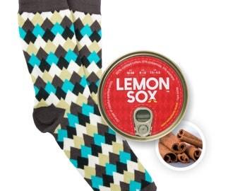 Mountaintops / Cinnamon, Scented And Canned socks, mens socks, colorful socks, cool mens gift, boyfriend gift socks, birthday gift