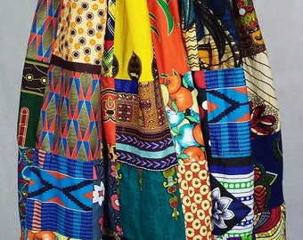 Ethnic patched skirt, Ankara patch skirt, African wax maxi skirt, African maxi skirt, Robe wax