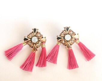 Triple Pink Tassel Earrings with Gemstone Cluster