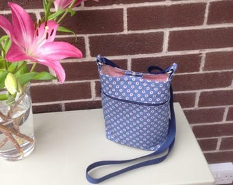 Cotton Cross Body Bag, Blue background, Pink and white floral detail, Pockets