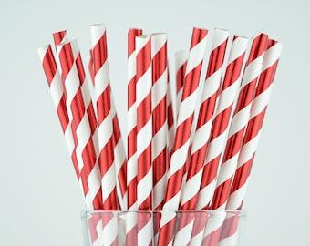 Red Foil Striped Paper Straws - Party Decor Supply - Cake Pop Sticks - Party Favor
