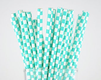 Turquoise Checkered Paper Straws - Party Decor Supply - Cake Pop Sticks - Party Favor