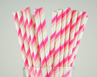 Pink/Light Pink Striped Paper Straws - Party Decor Supply - Cake Pop Sticks - Party Favor