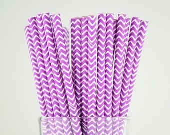 Purple Chevron Paper Straws - Mason Jar Straws - Party Decor Supply - Cake Pop Sticks - Party Favor