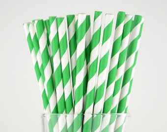 Green Striped Paper Straws - Mason Jar Straws - Party Decor Supply - Cake Pop Sticks - Party Favor