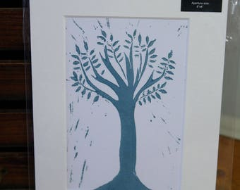 Mounted tree lino cut
