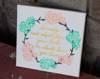 Hand Lettered Custom 10x10 Canvas Word Art & Floral Wreath