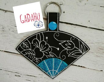 Japanese Hand Fan Key Fob Snap Tab Embroidery Design 4X4 size