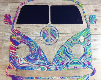 VW Bus Vinyl Decal - w/ Monogram or Peace sign