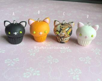 Cute kawaii kitty cat miniature clay cupcake charm