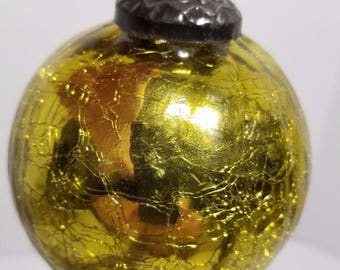 Vintage Kugel Style Gold Green Glass Crackle Ball Ornaments Heavy Muiltiple Listed