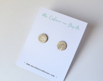 Earrings / gold retro leather coin chips