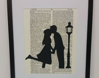 Couple Silhouette Art - Silhouette Art Print - Man and Woman Kissing by Lamp Post - Couple Kissing Silhouette - Dictionary Page Art