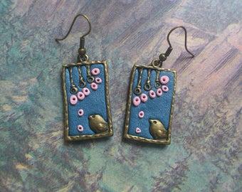 Dangle earrings/ Handmade earrings/ Romantic earrings/ Blue earrings/ Blue bird earrings
