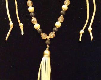 Suede Tassel w/Wood Beads Suede Draw Strings