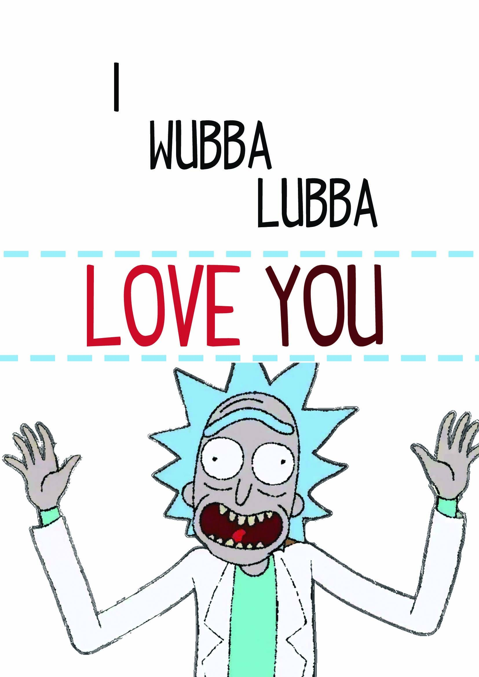 Rick morty wubba lubba love you birthday or anniversary card cute rick morty wubba lubba love you birthday or anniversary card cute card lovely bookmarktalkfo Image collections