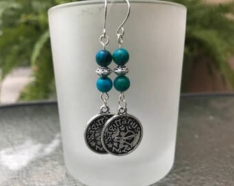 Silver and Turquoise Sagittarius Earrings